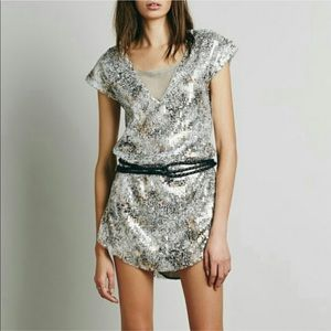 Free people Midnight dreams  sequin silver dress